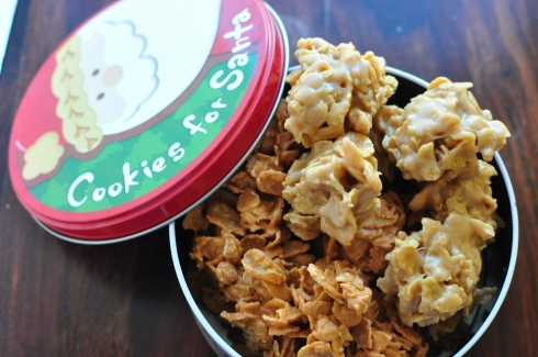 The delicious, simple little corn flake cookies can be made using peanut butter or butterscotch chips. A wonderful addition to your Christmas cookie lineup.